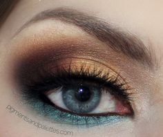 Brown Gold Neutral SmokeyEye withTeal Accent by Meredith Jessica pulled from Makeup Geek