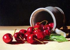 """Daily Paintworks - """"Cherries in Pewter Mug"""" by Sherry Bevins"""