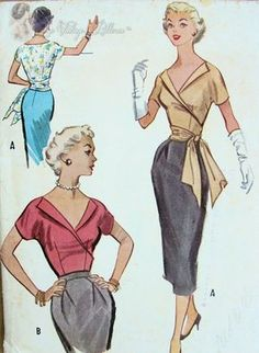 Vintage Sewing Patterns Bombshell Surplice Wrap Blouse Pattern With or Without Side Sash Low Open V Neckline Very Marilyn Monroe Style McCalls 9551 Vintage Outfits, Vintage Dresses 50s, Vintage Dress Patterns, Blouse Vintage, Blouse Patterns, Clothing Patterns, Skirt Patterns, Coat Patterns, Moda Vintage