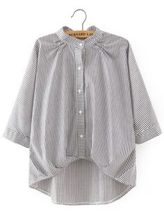 Black White Stand Collar Vertical Stripe Dip Hem Blouse -SheIn(abaday)