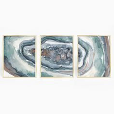 Watercolor Agate Slice Set of 3 Wall Art Print