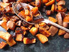 roasting veggies on the stovetop (much faster than oven)