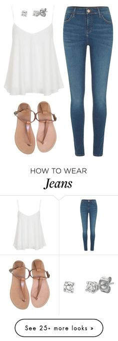 """Swing Camisole. Diamond Studs. Skinny Jeans & Leather Flip-flops"" by coolchick1630 on Polyvore featuring River Island, Topshop, CÉLINE and BillyTheTree"