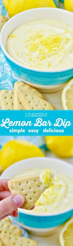 This Lemon Bar Dip is only 3 INGREDIENTS and is so simple easy and delicious! (simple wine and cheese party) Lemon Desserts, Lemon Recipes, Easy Desserts, Sweet Recipes, Delicious Desserts, Yummy Food, Dip Recipes, Easy Recipes, Sauces