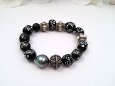 Black Coral Yemen Prayer Beads, Tahitian Pearl, Pave Diamond Beads Bracelets