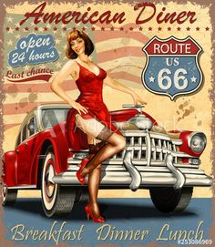 Pin Up Posters, Girl Posters, Vintage Metal Signs, Vintage Bar, Guys And Girls, Pin Up Girls, Car Girls, Barber Shop Vintage, American Diner