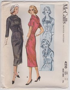 McCall's 4210 | 1950s Sheath Dress with Lovely Draped Neckline
