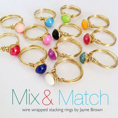 Stacking rings. Brass wire wrapped by jaynebrownjewellery on Etsy