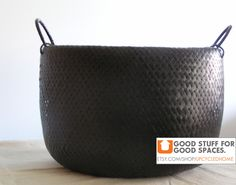 Black Rubberized Woven Oval Basket by ShopSpacePlace on Etsy https://www.etsy.com/listing/60703290/black-rubberized-woven-oval-basket