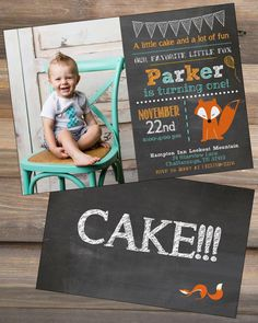 Fox Woodland Birthday Invitation - Chalkboard Style Aqua Orange Woodsy Outdoorsy…