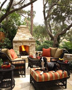 An outdoor fireplace design on your deck, patio or backyard living room instantly makes a perfect place for entertaining, creating a dramatic focal point. Outdoor Rooms, Outdoor Living, Outdoor Furniture Sets, Outdoor Decor, Garden Furniture, Outdoor Retreat, Outdoor Kitchens, Outdoor Patios, Outdoor Oven