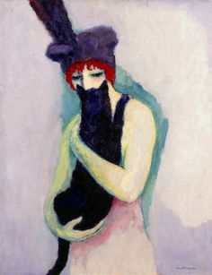 Kees van Dongen : Woman with Cat, 1908 // Milwaukee Museum of Art Art And Illustration, She And Her Cat, Maurice De Vlaminck, Milwaukee Art Museum, Black Cat Art, Black Cats, Dutch Painters, Henri Matisse, Cool Cats