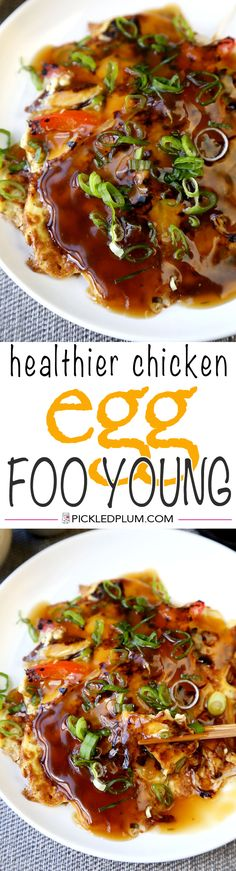 Healthier Chicken Egg Foo Young Recipe - I'm using less oil, more veggies and packing plenty of flavor into these fluffy egg foo young pancakes and gooey brown gravy! http://www.pickledplum.com/chicken-egg-foo-young-recipe/
