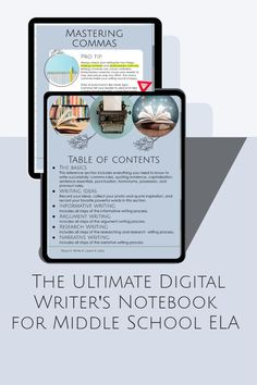 Imagine everything you need to teach writing in one easy-to-navigate place! The Ultimate Digital Writer's Notebook for Middle School ELA will help your middle school ELA students master ALL the writing standards with everything term, graphic organizer, and rubric they need in one place.The Ultimate Writer's Notebook is standards-based and gives student writers the freedom to work through the writing process independently. Grab yours! Writing Mentor Texts, Writing Genres, Argumentative Writing, Research Writing, Narrative Writing, Informational Writing, Writing Process, Teaching Writing, Middle School Ela