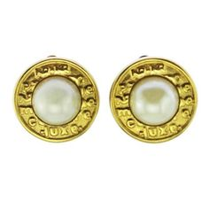Vintage Nina Ricci Gold and Pearl Earrings