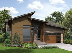 A slanted shed roof and transom windows serve to give this Contemporary house plan an eye-popping exterior.The wide open floor plan gives you gorgeous sightlines from every angle.In the kitchen, a huge island has seating for four people and 20' of counter space along the back wall.Homeowners get a private vestibule as the entrance to the master suite.Use the den as an extra bedroom if you want since it has a walk-in closet and attached bathroom.The remaining bedrooms are all on the finish...