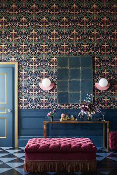 Angel Wallpaper, Bold Wallpaper, Colorful Wallpaper, Royal Wallpaper, Wallpaper Decor, Wallpaper Ideas, Kensington Palace Orangery, Estilo Tudor, Wooden Panelling