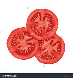 Sliced Tomato Isolated Over White Background. Vector Illustration ...