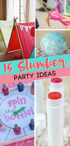 Fun slumber party ideas for your girl and her good friends! These 15 Fun Slumber Party Ideas for Girls are the perfect sleepover ideas for tweens or even when you need some last minute sleepover ideas. You can even find some girl sleepover DIYs they would Slumber Party Crafts, Slumber Party Activities, Birthday Sleepover Ideas, 12th Birthday Party Ideas, Girl Sleepover, Colorful Birthday Party, Sleepover Party, Neon Party, Girls Slumber Parties