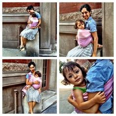Babywearing in the City www.metrominis.com  Giros Pink Lotus Ringsling