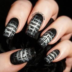 Gothic Text nails! For the radial gradient I used Iron from Bettina, Snow Me…
