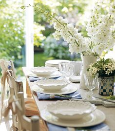 An all-white tablescape