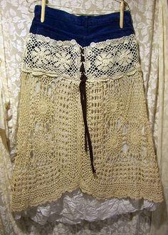 @: Deconstructed Crocheted Bohemian Skirt