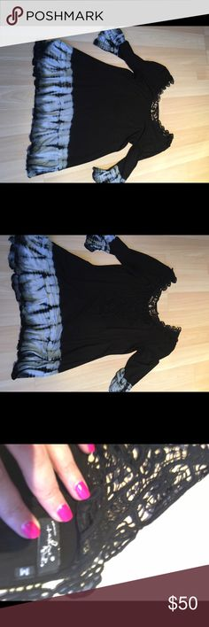Fashque black Tye dye tunic M Gorgeous Fashque black tunic with bell 3/4 sleeves ruffle hem and crochet back. Details and quality superb. Only worn twice EUC   95 percent rayon. 5 percent Lycra.  🚫 No Trades ✅ Reasonable Offers considered  🚭 Pet free, smoke free home Fashque Tops Tunics