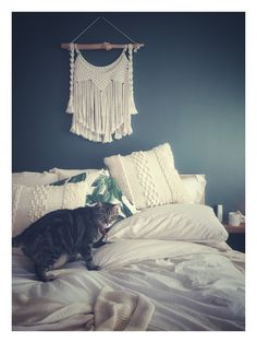 When is a house and home without a cut cat about. Farrow and Ball - Green Smoke Cut Cat, Master Bedroom, Bedroom Decor, Bed Sheets, Cats Of Instagram, Nest, New Homes, Tapestry, Smoke