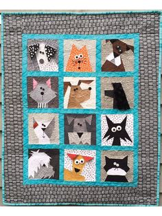 """This paper pieced pattern gives clear, concise directions to create the adorable cats and dogs shown. Each block measures 7"""" x 7"""". Need it larger? Just add an extra border and you will have a perfect sized lap quilt. Finished size is 32&quo..."""