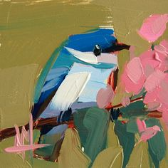 Cerulean Warbler no. 50 original bird oil painting by Angela Moulton 4 x 4 inch on panel prattcreekart