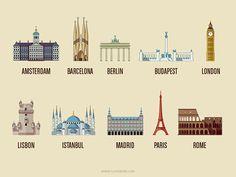 European cities - infographic elements on Behance