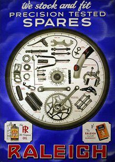 spares Raleigh Bicycle, Raleigh Bikes, Velo Retro, Retro Bike, Old Bicycle, Bicycle Parts, Vintage Cycles, Vintage Bikes, Bicicletas Raleigh