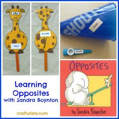 Learning Opposites with Sandra Boynton: utilize book as a guide to make activities for your little one to actually their senses to learn the words. So not just reading but doing. Sensory Activities, Learning Activities, Preschool Activities, Kids Learning, Teaching Ideas, Prek Literacy, Speech Activities, Preschool Lessons, Language Activities