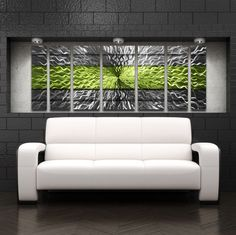 Green Modern Contemporary Metal Wall Sculpture Big Art Work Painting Home  Decor