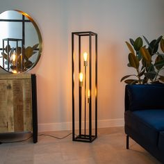 This industrial floor lamp is a treat for the eye! Thanks to the light sources at different heights, a playful and stylish effect is created. Industrial Floor Lamps, Industrial Ceiling Lights, Industrial Pipe, Beige Living Rooms, Decor Home Living Room, Corner Lamp, Cute Room Decor, Aesthetic Bedroom, My New Room