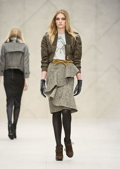 ruffled skirt,  T-shirt with bird print, jacket, gloves, yellow bow belt - Burberry F/W 2012-2013