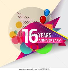 16 Years Anniversary logo with balloon and colorful geometric background, vector design template elements for your birthday celebration.