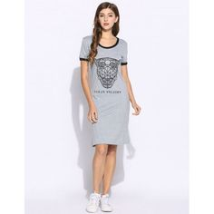 Women Tiger Print Short Sleeve O Neck Casual Styles Patchwork T-Shirt Dress