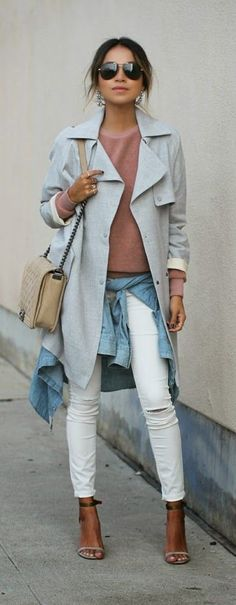 Spring Layers: Four Easy Outfits From Pinterest To Copy Right Now. Trench+Sweatshirt+White Jeans