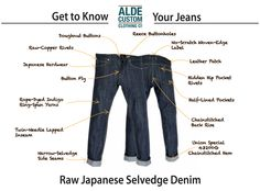 Handcrafted Japanese Selvedge Denim Jeans, denim aprons and accessories. Japanese Selvedge Denim, Indigo Dye, Getting To Know You, Clothing Co, Buttonholes, Custom Clothes, Knowing You, Jeans, Leather
