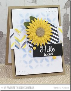 Sunflower Die-namics, Royal Leaves Die-namics, Stitched Circle STAX Die-namics, LJD Fall Foliage Stamp Set, Scattered Bars Stencil, MPD Petal Circles Stencil - Barbara Anders #mftstamps