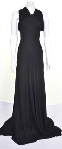 ALEXANDER-McQUEEN-S-S-2008-HALTER-NECK-BLACK-GOWN-DRESS-UK-6-US-4-IT-38