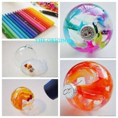 Cut up crayons, put them in clear glass ornaments and melt them with a blow dryer.