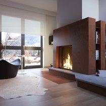Camino in Laminam Camino Design, Corten Steel, House Ideas, New Homes, Construction, Interior Design, Brown, Home Decor, Log Burner