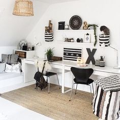 "With this picture of my creative room I wanna join the ""my-ikea -style"" competition. I have used: Gaddis and Trål lamps, Lohals carpet, Mosslanda shelves and Micke desks  #minIKEAstil #elledecorationse #därlivethänder"