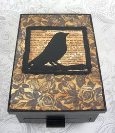 Antiqued  Black Bird Typography and Roses Jewelry by pzcreations22, $20.00
