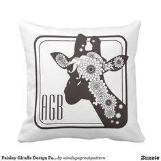 Paisley Giraffe Monogram Outdoor Pillow - Black x White
