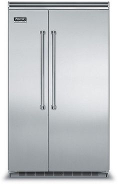 Viking 5 Series 42 Inch Built In Counter Depth Side by Side Refrigerator, in Stainless Steel Bottom Freezer Refrigerator, Built In Refrigerator, Side By Side Refrigerator, Subzero Refrigerator, Glass Shelves Kitchen, Stainless Steel Counters, Counter Depth, Wire Shelving, Modern Kitchens