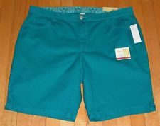 NWT Women's Plus Size 20W Teal Shorts Faded Glory New Fit Hidden Comfort Waist